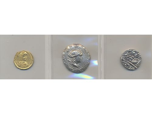 Coins, Ancient Mixed. Three silver and gold coins, Roman coins + Asia. VF-XF.