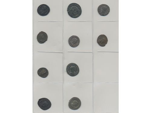 Coins, Ancient Roman empire. Group of 10 roman bronze coins and antonianus. Please inspect! VG-AU.