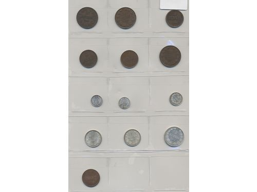 Coins, Finland. Small group of 13 silver and copper coins 1865-1917 including several in high grades. 1+-0.