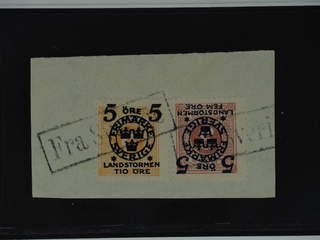 Sweden. Facit 116, 118 used , 5+FEM/3 and 5+TIO/6 öre on cut piece cancelled with Danish …