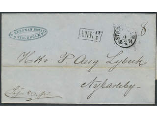 Finland. Prephilately. Folded letter sent from STOCKHOLM 4.2.1871 to Nykarleby. Arrival …