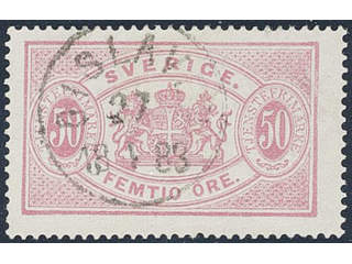 Sweden. Official Facit Tj9d used , 50 öre carmine-rose, perf 14, yellowish paper. …