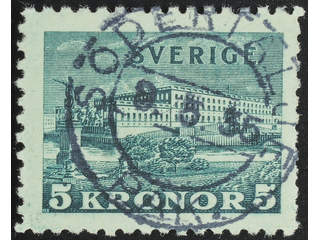 Sweden. Facit 233a used , 1931 The Royal Palace 5 Kr green, toned paper. EXCELLENT …
