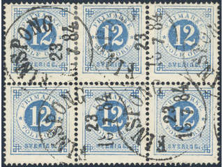Sweden. Facit 32 used , 12 öre in block of six cancelled FINSPONG 23.7.1884.