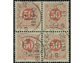 Sweden. Facit 48 used , 50 öre red in block of four. Cancelled STOCKHOLM PAKET C …