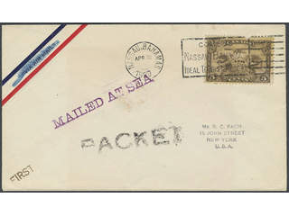 Canada. Michel 127 cover , 5 cents (def) on cover to USA, sent from NASSAU Bahamas …