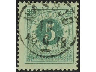 Sweden. Facit 30b used , 5 öre dull bluish green. Superb cancellation NÄSSJÖ 19.6.1878.