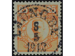 Sweden. Facit 86 used , 25 öre orange. EXCELLENT cancellation LJUNGBY 8.5.1912.