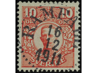 Sweden. Facit 82 used , 10 öre red. EXCELLENT cancellation RAMFALL 16.12.1911.
