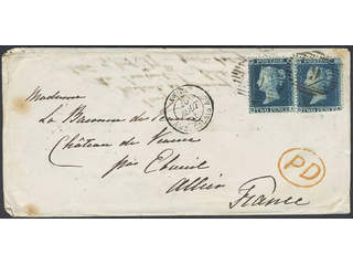 Britain. Michel 11B I cover , 1855 Queen Victoria 2 d blue on blue, watermark large …