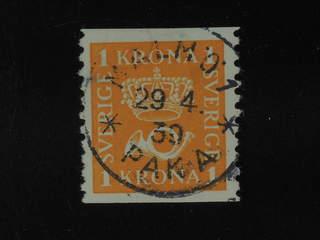 Sweden. Facit 168 used , 1 Krona orange. EXCELLENT cancellation MALMÖ 1 PAK A 29.4.39.