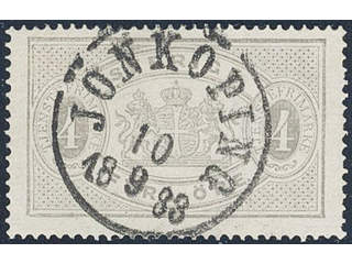 Sweden. Official Facit Tj2c used , 4 öre light grey, perf 14, yellowish paper. Position …