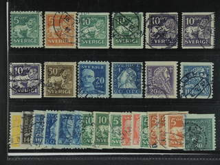 Sweden. Used 1920-34. Small coil stamps.All different, e.g. F 140cx, 141bz, 144Acc+Ecx, …