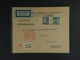 Sweden. Air mail cover Facit 192, 143A , 5+50 öre on registered air mail cover sent from …