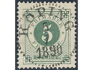 Sweden. Facit 43d used , 5 öre dark green on yellowish paper. KÖPING 5.7.1890.