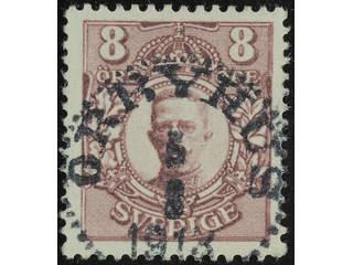 Sweden. Facit 81 used , 8 öre violet. Superb–EXCELLENT cancellation ÖRBYHUS 5.8.1913.