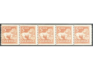 Sweden. Facit 142Acx ★★ , 5 öre brown-red, type II with watermark lines in strip of …