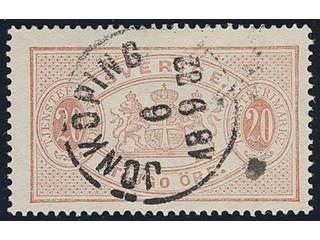 Sweden. Official Facit Tj6 used , 20 öre red, perf 14. Cancelled JÖNKÖPING 6.9.1882. …