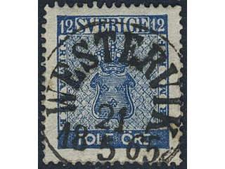 Sweden. Facit 9b2 used , 12 öre dark blue. EXCELLENT cancellation. One somewhat short …