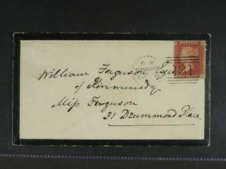 Britain. Michel 10B cover , 1855 Queen Victoria 1 d red-brown on blue die II, watermark …