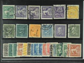 Sweden. Used 1920-36. Small coilstamps, All different, e.g. F 144Acc, 145E+Ecx, 146E, …