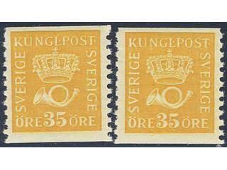 Sweden. Facit 157 ★★ , 35 öre yellow type II. Two very fine copies. (2).