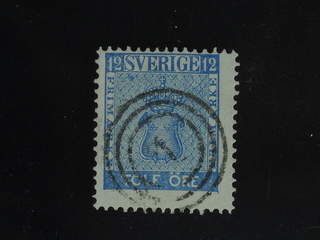 Sweden. Facit 9 used , 12 öre blue beautifully cancelled with Danish numeral …