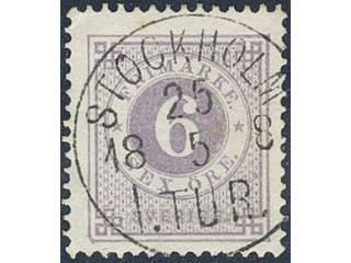 Sweden. Facit 31e used , 6 öre greyish lilac. Superb cancellation STOCKHOLM 1.TUR …
