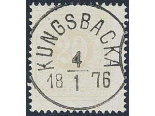 Sweden. Facit 22f used , 20 öre pale orange. EXCELLENT cancellation KUNGSBACKA 4.1.1876, …