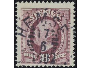 Sweden. Facit 53 used , 1903 Oscar II 8 öre violet. EXCELLENT cancellation HEMSE …