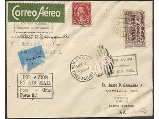 Thematics First flights. Covers. Guayaquil - New York 29 April 1930. Franked with One …