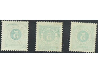 Sweden. Facit 30v2 used , 5 öre green, set-off variety, three copies. One with superb …