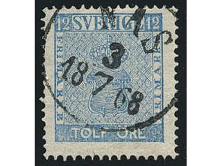 Sweden. Facit 9d3, W county. NÅS 3.7.1868, circle cancellation. Postal:200:-