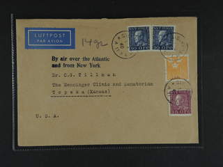 Sweden. Air mail cover Facit 185, 187, 290 , 2x30+35 öre + 1 kr on air mail cover sent …