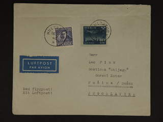 Sweden. Air mail cover Facit 322, 231 , 10+30 öre on air mail cover sent from HULTAFORS …