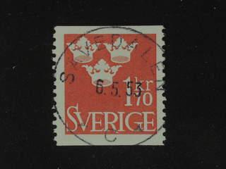 Sweden. Facit 304 used , 1951 Three Crowns 1.70 Kr red. EXCELLENT cancellation SÄVEDALEN …