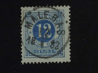 Sweden. Facit 32 used , 12 öre blue. Very fine cancellation MÅLERÅS (county of Kalmar) …