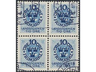 Sweden. Facit 105–14 used , 1916 Landstorm I SET (10). Block of four set. SEK2800