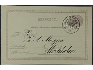 Sweden. Facit bKe2, E county. NORRKÖPING 20.3.1882. Beehive pmk on postcard 6 öre sent …