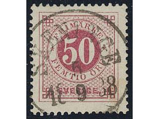 Sweden. Facit 48b used , 50 öre carmine, even print. EXCELLENT cancellation SKENINGE …