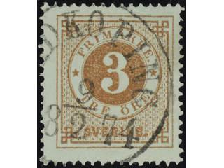 Sweden. Facit 17e used , 3 öre orange-brown. Beautiful copy cancelled LIDKÖPING 9.2.1874.