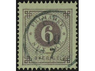 Sweden. Facit 31c used , 6 öre dull lilac. Superb cancellation ED 10.7.1883.