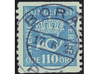 Sweden. Facit 169b used , 110 öre light blue. EXCELLENT cancellation BORÅS 17.6.25. One …