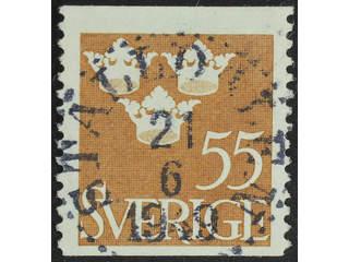 Sweden. Facit 285 used , 1948 Three Crowns 55 öre brown. EXCELLENT cancellation …