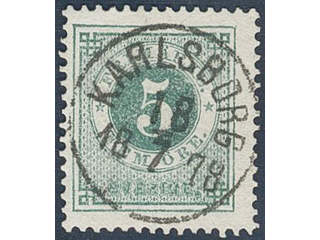 Sweden. Facit 30 used , 5 öre green. EXCELLENT cancellation KARLSBORG 18.7.1878.