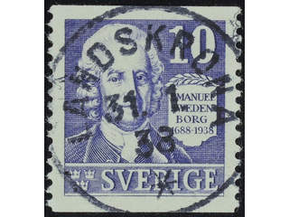 Sweden. Facit 259A used , 1938 Emanuel Swedenborg 10 öre violet vertical perf. EXCELLENT …