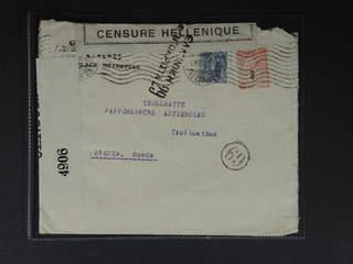 Greece. Michel 195, 215 cover , 10+15 L on censored cover sent 6.NOV.18 to Sweden. …