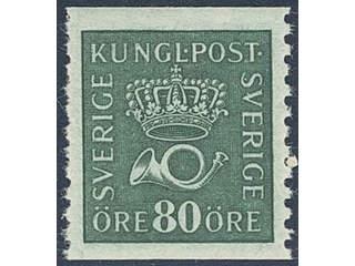 Sweden. Facit 165cz ★★ , 80 öre blue-green with inverted wmk lines + KPV.