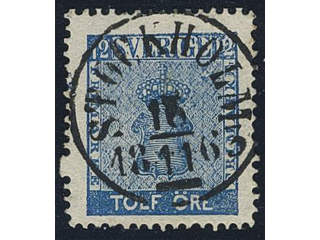 Sweden. Facit 9c2 used , 12 öre blue with one double perf. EXCELLENT cancellation …