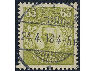 Sweden. Facit 93 used , 65 öre yellow-green. EXCELLENT cancellation FALUN 24.4.18.